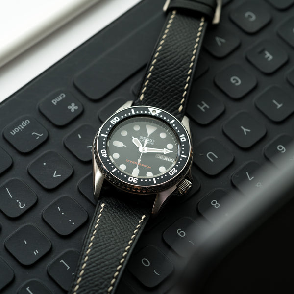 Monochrome Watches Shop | Delugs Epsom Calfskin Watch Strap - Black