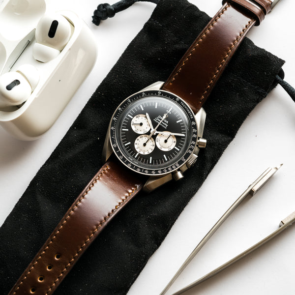 Monochrome Watches Shop | Delugs Shell Cordovan Signature Watch Strap - Brown