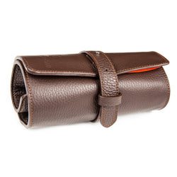 Monochrome - Leather Watch Roll - Dark Brown & Orange