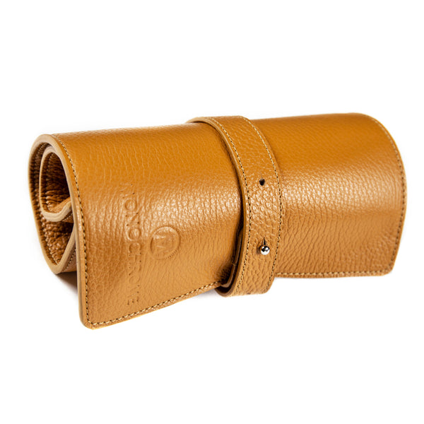 Monochrome - Leather Watch Roll - Cognac & Beige