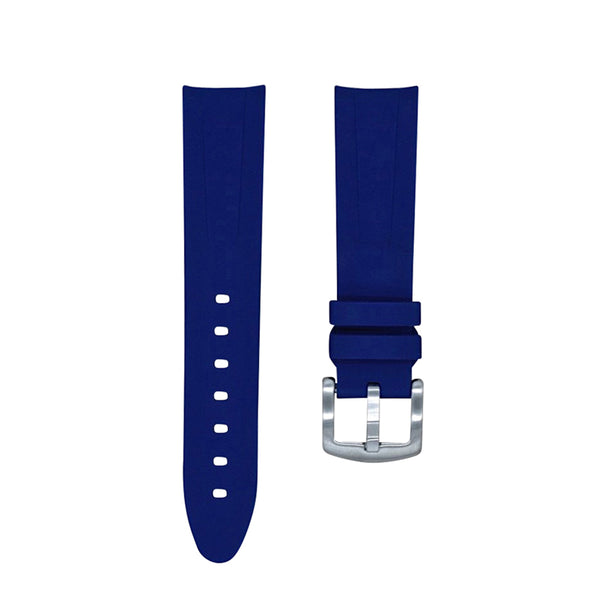 Monochrome Watches Shop | Tempomat Curved Ended Rubber Watch Strap - Blue