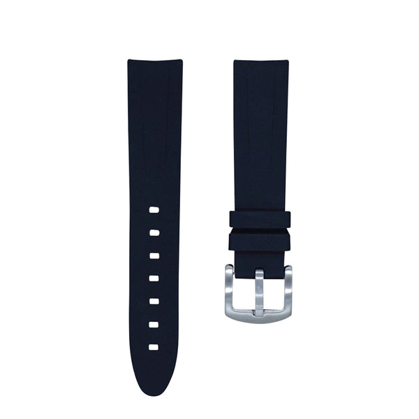 Monochrome Watches Shop | Tempomat Curved Ended Rubber Watch Strap - Black
