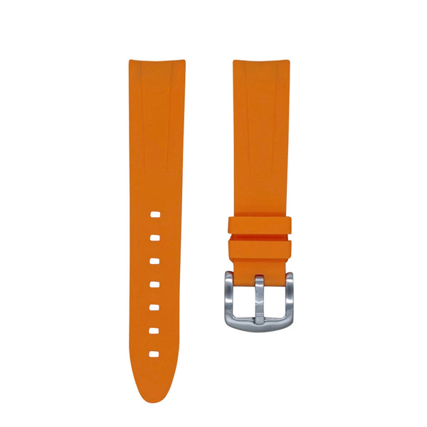 Monochrome Watches Shop | Tempomat Curved Ended Rubber Watch Strap - Orange