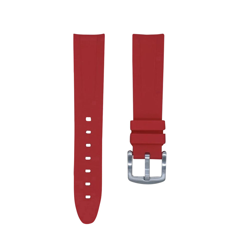Monochrome Watches Shop | Tempomat Curved Ended Rubber Watch Strap - Red