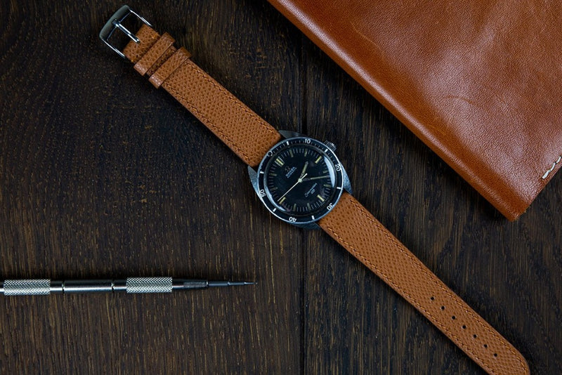 Monochrome Watches Shop | Grained Calfskin Watch Strap - Saddle Brown