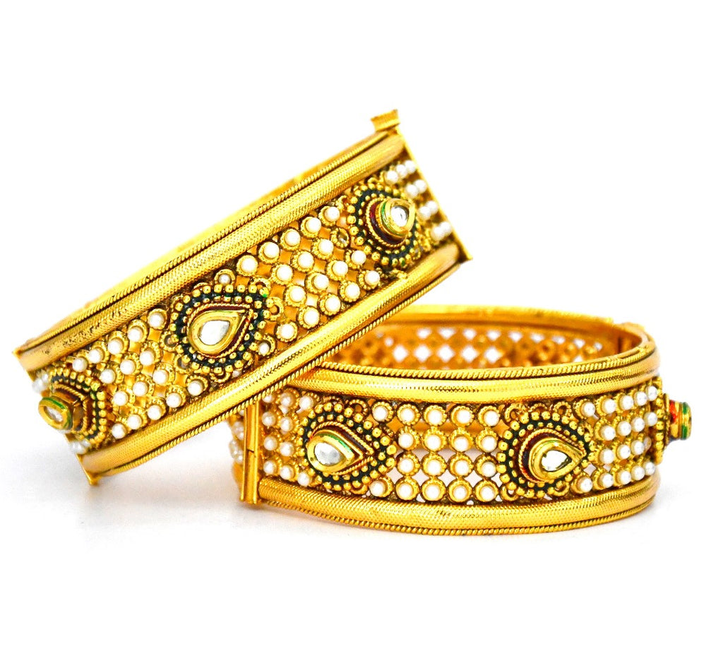 Kundan Indian bangle jewelry Set