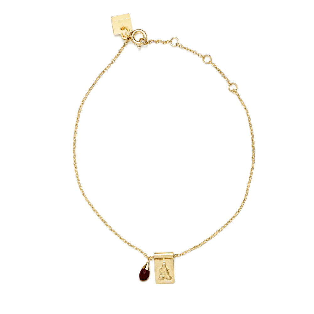 Gold Little Buddha and Ruby Bracelet