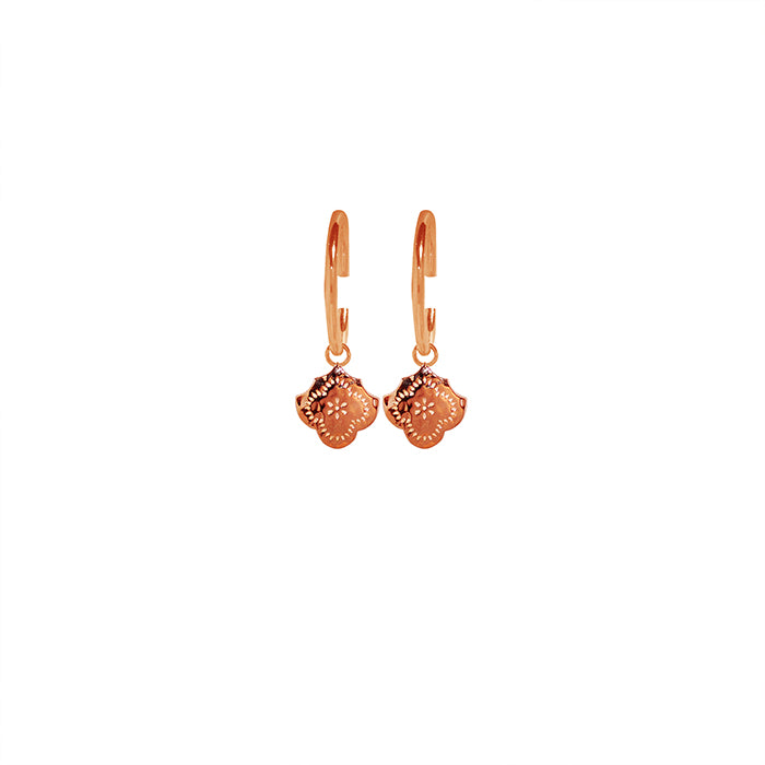 Rose Gold Hoop Earrings with Flower Pendant - The Spirit of Boho