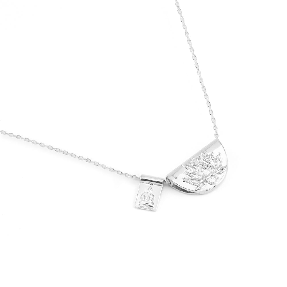 Silver Lotus and Little Buddha Short Necklace - The Spirit of Boho