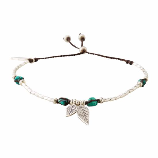 Turquoise Two Feather Anklet