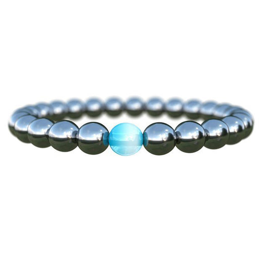 Therapy Health Care Magnet Hematite Beads Bracelet Men's / Women Black Cool Stone