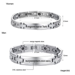Theraopy Magnetic Bracelets & Bangles Stainless Steel Jewelry (Couple- Engrave Name)