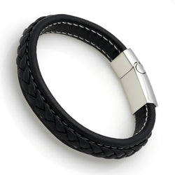 Genuine Leather Bracelet Men Stainless Steel