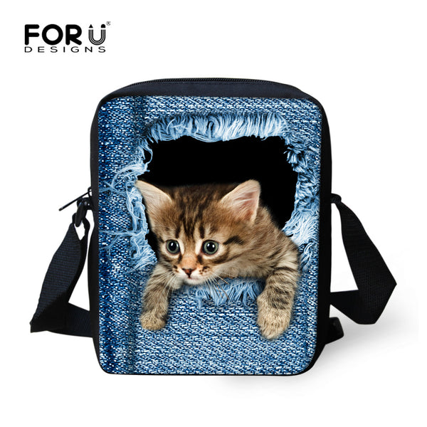3D Denim Pet Lovers Women Messenger Bags