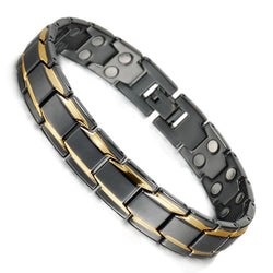 Black Healing Care Magnetic Bracelets Gold C Alloy -Man ( ALB-0443)