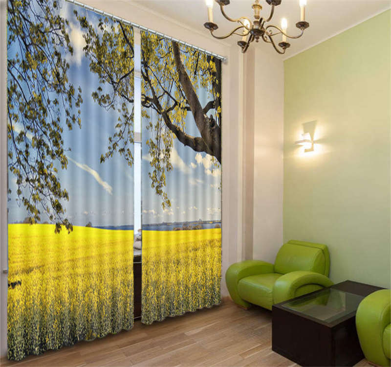 Yellow And Frondent Grass 3D Curtain Blockout Photo Print Curtains Fabric Window