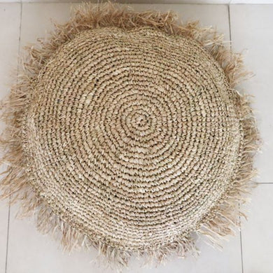 Round Hand woven seagrass cushion cover - AnamasGypsy