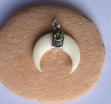 Bone and Peridot boho moon pendant