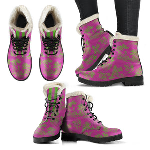 multiple views of Toile de Jouy Pink Lime Faux Fur Lined Winter Boots