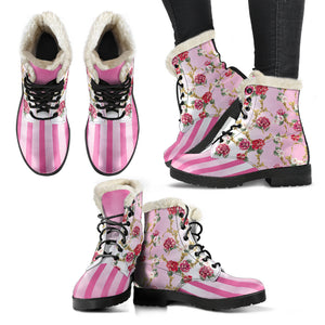 Side and front views of Pompadour floral pink stripe faux fur lined winter boot