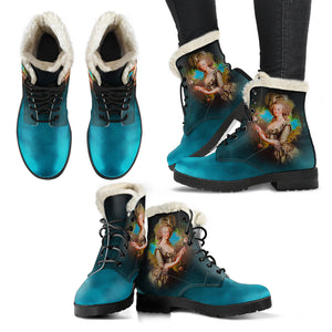 Front and side views of Marie Antoinette blue cameo faux fur lined winter boot