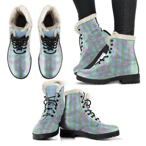 multiple views of Toile de Jouy Garden Sugar Stripe Faux Fur Lined winter boot