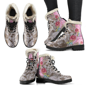 multiple views Pompadour Pink Feathers Faux Fur Lined Winter Boots