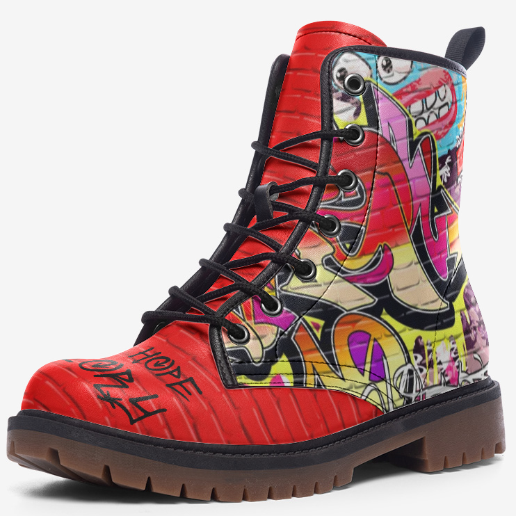 side view of single red brick graffiti unisex combat boot