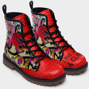 top view of red brick graffiti unisex combat boots
