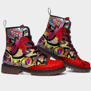 side view of red brick graffiti unisex combat boots
