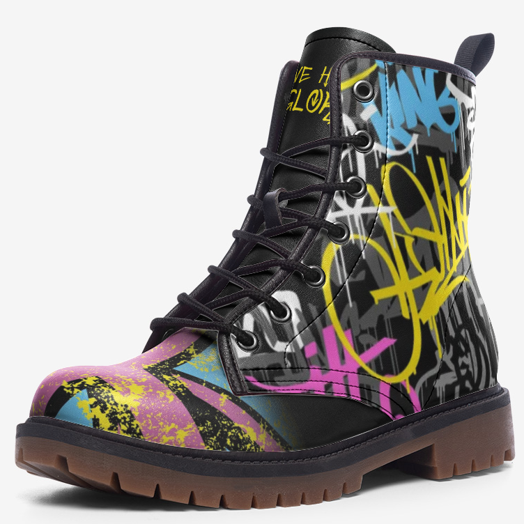 side view of single urban graffiti union jack boot
