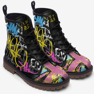 top view of urban graffiti union jack boots