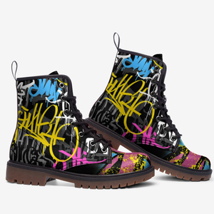 side view of urban graffiti union jack boots