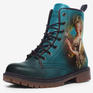 side view of single marie antoinette cameo classic unisex combat boot