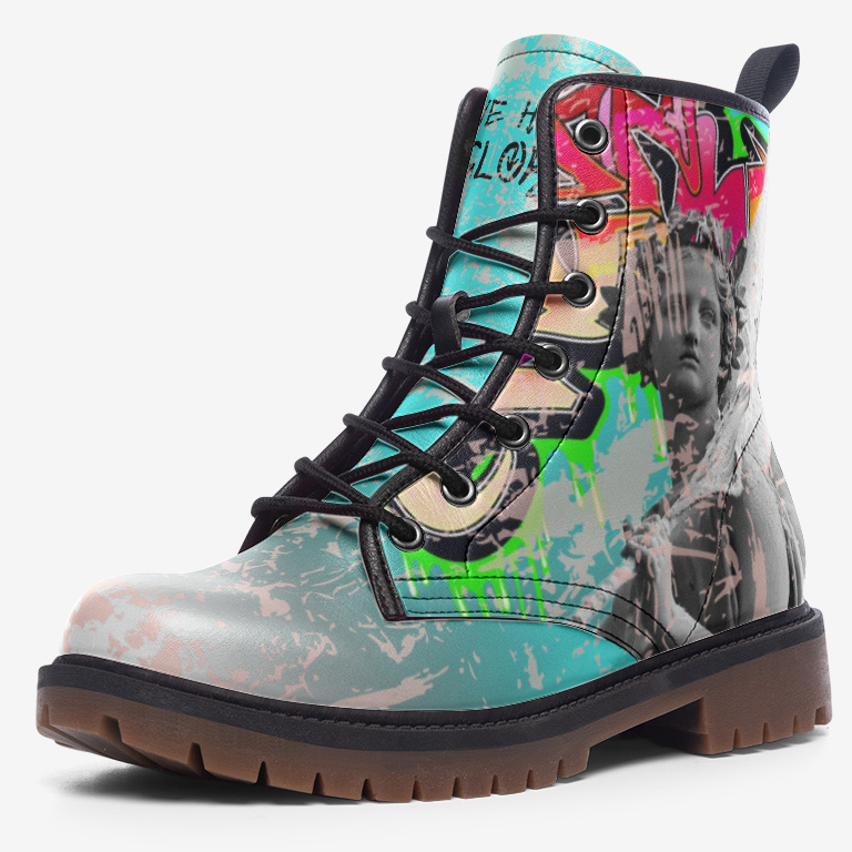 view of single distressed Graffiti Punk Angel Unisex Combat Boot