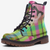 view of single Camo Lime Tartan Plaid Unisex Highlander Combat Boot