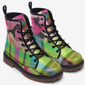 top view of Pink Camo Lime Tartan Plaid Unisex Highlander Combat Boots