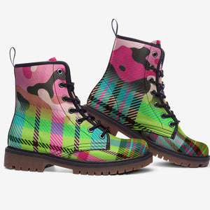 side view of Pink Camo Lime Tartan Plaid Unisex Highlander Combat Boots