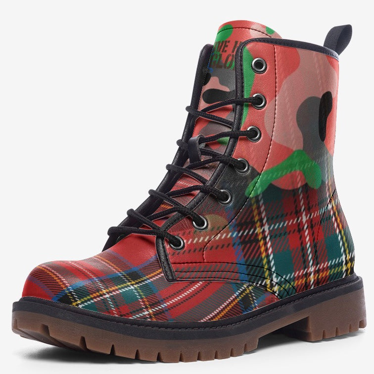 view of single Red Plaid Tartan Camo Highlander Unisex Combat boot