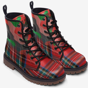 top view of Red Plaid Tartan Camo Highlander Unisex Combat Boots