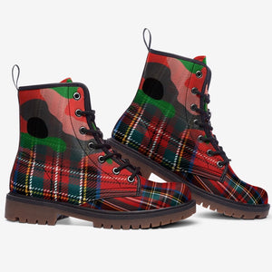 side view of Red Plaid Tartan Camo Highlander Unisex Combat Boots