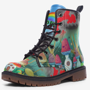 view of single Magical Forest Mushroom Fantasy Unisex Combat Boots