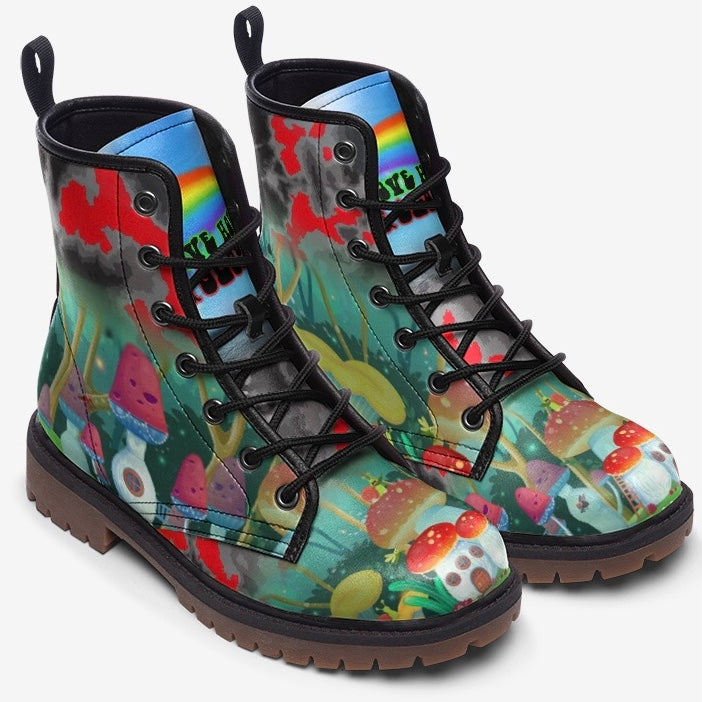 top view of Magical Forest Mushroom Fantasy Unisex Combat Boots