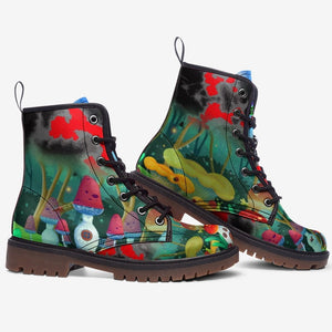 side view of Magical Forest Mushroom Fantasy Unisex Combat Boots
