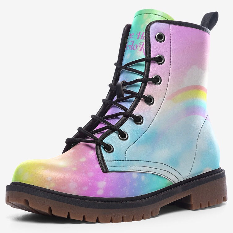 Rainbow Star Fantasy Cloud Unisex Combat Boots