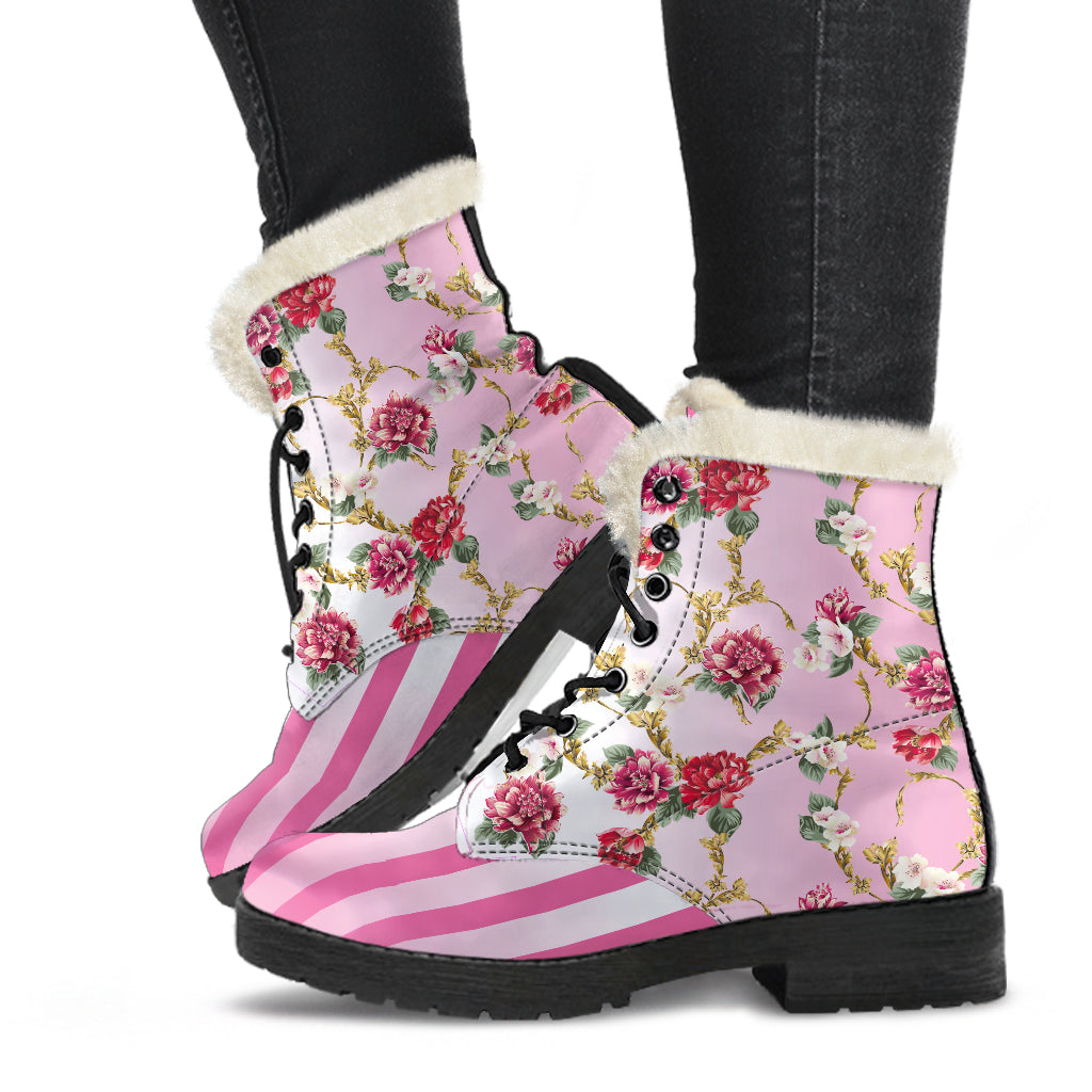 Pompadour floral pink stripe faux fur lined winter boot