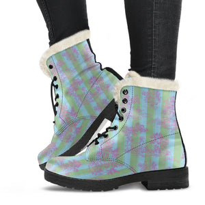 side view of Toile de Jouy Garden Sugar Stripe Faux Fur Lined winter boots