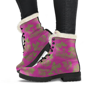 side view Toile de Jouy Pink Lime Faux Fur Lined Winter Boots