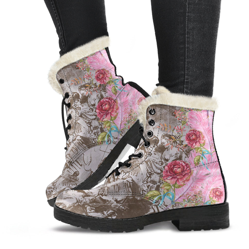 side view of 17th century pink feathers faux fur lined winter boots