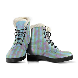 front view of Toile de Jouy Garden Sugar Stripe Faux Fur Lined winter boots